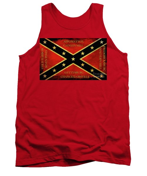 Confederate Battle Flag With Battles Tank Top