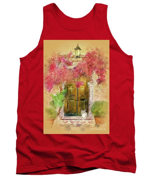 Tank Top featuring the digital art Corfu Kitty by Lois Bryan