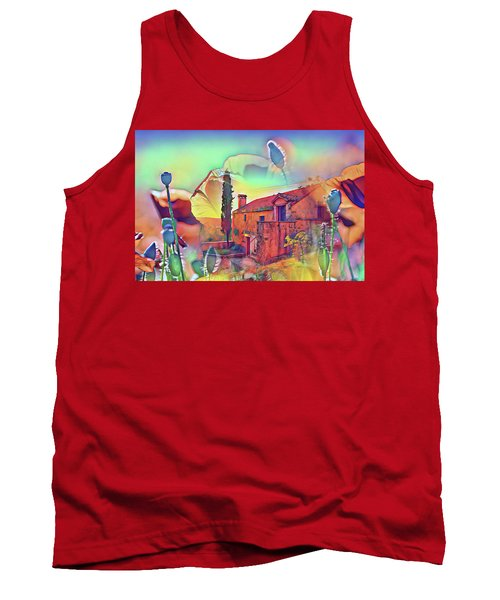 Country Villa Nestled In A Field Of Poppies Tank Top