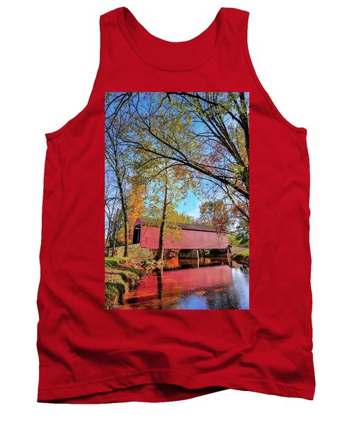 Covered Bridge In Maryland In Autumn Tank Top