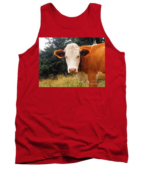 Tank Top featuring the photograph Cow In Pasture by MGL Meiklejohn Graphics Licensing