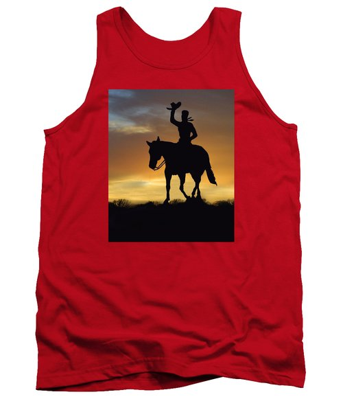 Cowboy Slilouette Tank Top by Linda Phelps