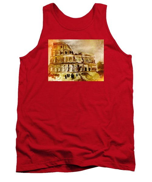 Tank Top featuring the painting Crazy Colosseum by Denise Tomasura