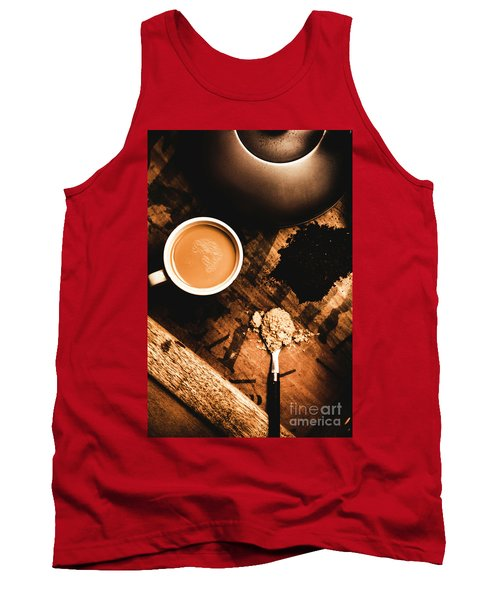 Cup Of Tea With Ingredients And Kettle On Wooden Table Tank Top