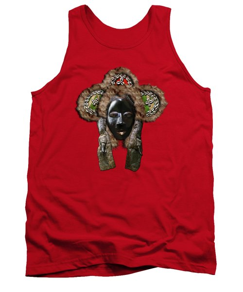 Dan Dean-gle Mask Of The Ivory Coast And Liberia On Red Leather Tank Top