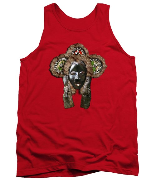 Dan Dean-gle Mask Of The Ivory Coast And Liberia On Red Velvet Tank Top