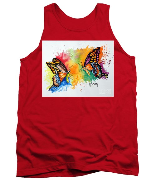 Tank Top featuring the painting Dance Of The Butterflies by Maria Barry