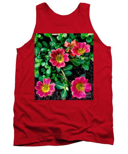 Dark Pink Purselane Flowers Tank Top