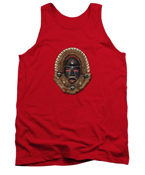 Dean Gle Mask By Dan People Of The Ivory Coast And Liberia On Red Leather Tank Top
