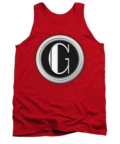 Deco Cafe Marquee  Monogram  Letter G Tank Top