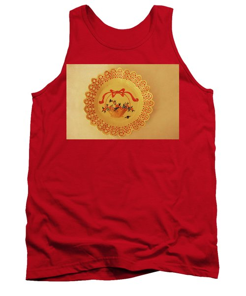 Tank Top featuring the photograph Decorated Plate With A Basket And Flowers by Itzhak Richter