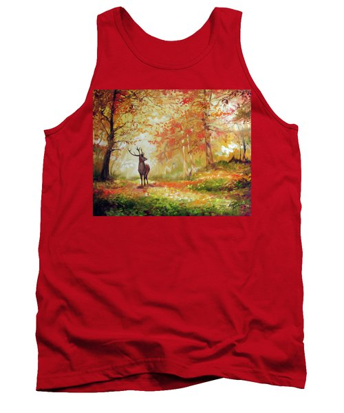 Deer On The Wooden Path Tank Top