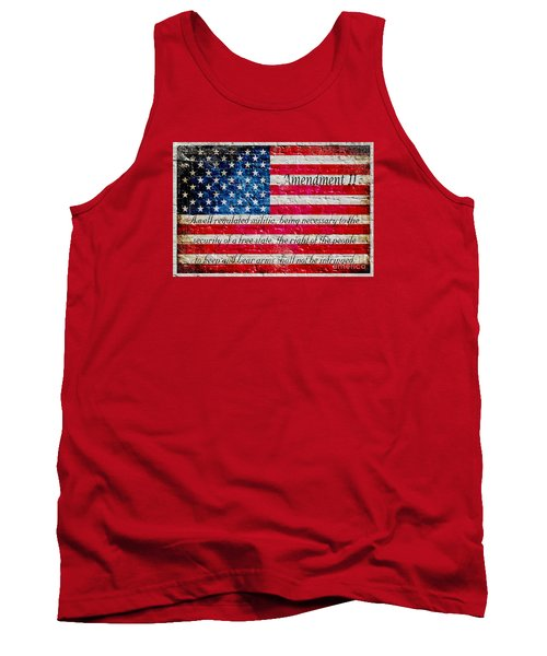 Distressed American Flag And Second Amendment On White Bricks Wall Tank Top by M L C