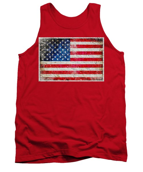 Distressed American Flag On Old Brick Wall - Horizontal Tank Top by M L C
