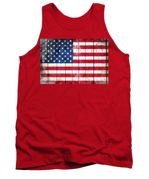 Distressed American Flag On Wood Planks - Horizontal Tank Top