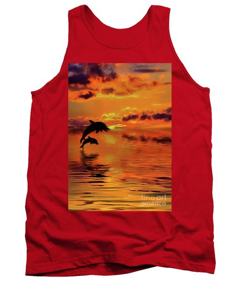 Tank Top featuring the digital art Dolphin Silhouette Sunset By Kaye Menner by Kaye Menner