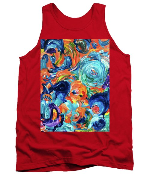 Dolphins Playing In Peonies Tank Top
