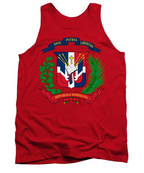 Tank Top featuring the drawing Dominican Republic Coat Of Arms by Movie Poster Prints
