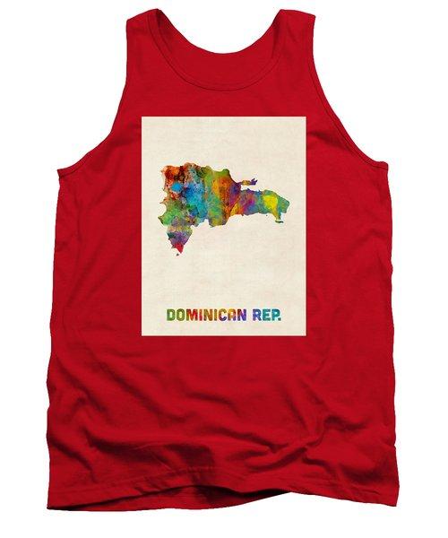 Dominican Republic Watercolor Map Tank Top