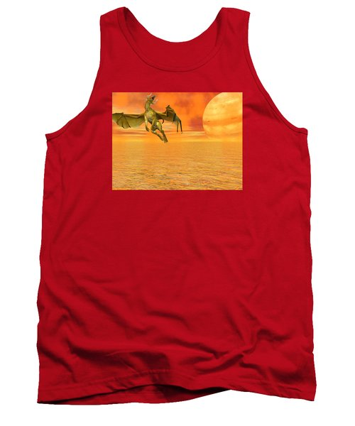 Dragon Against The Orange Sky Tank Top