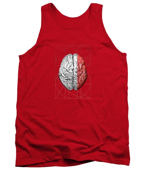 Dualities - Half-silver Human Brain On Red And Black Canvas Tank Top