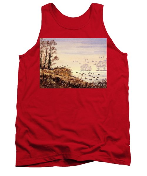 Tank Top featuring the painting Duck Hunting Times by Bill Holkham