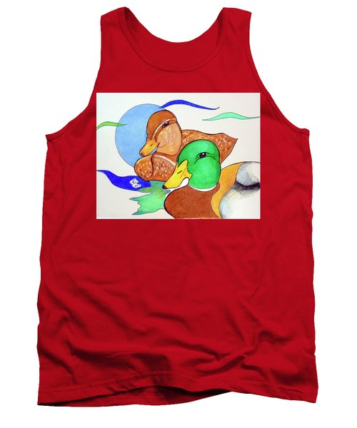 Tank Top featuring the drawing Ducks2017 by Loretta Nash