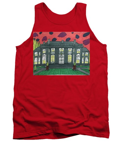 Tank Top featuring the painting Dupont Family Mansion. by Jonathon Hansen
