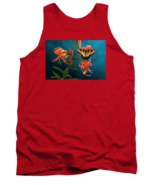 Eastern Tiger Swallowtail Butterfly On Orange Tiger Lily Tank Top