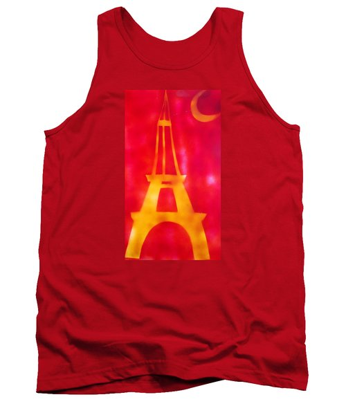 Tank Top featuring the painting Eiffel Tower Yellow Glowing by Don Koester