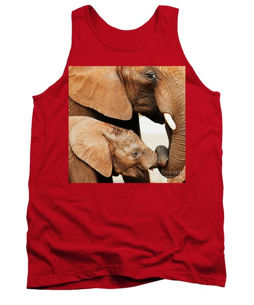 Elephant Calf And Mother Close Together Tank Top