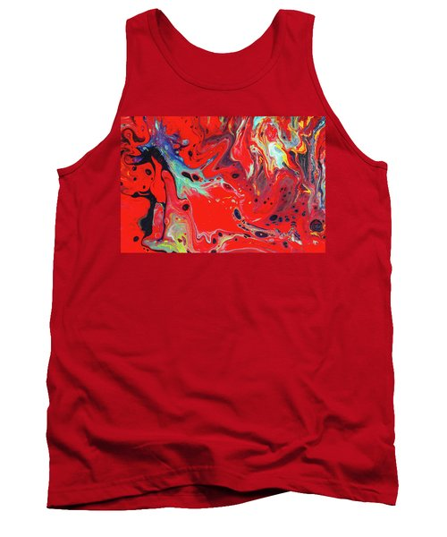 Emotional Soul - Red Abstract Canvas Painting Tank Top by Gordan P Junior