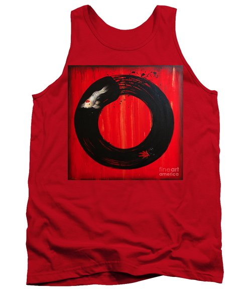 Enso With Koi Red And Gold Tank Top by Sandi Baker