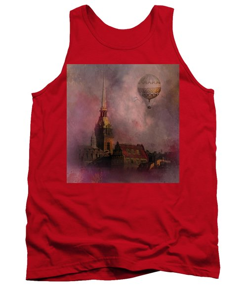 Tank Top featuring the digital art Stockholm Church With Flying Balloon by Jeff Burgess