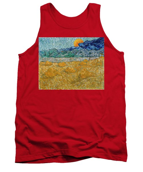 Tank Top featuring the painting Evening Landscape With Rising Moon by Van Gogh
