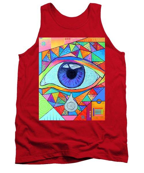 Eye With Silver Tear Tank Top by Jeremy Aiyadurai