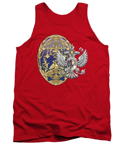Faberge Tsarevich Egg With Surprise On Red Velvet Tank Top