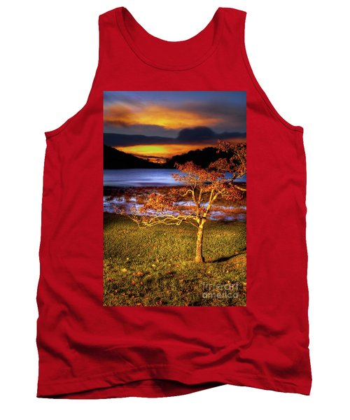 Tank Top featuring the photograph Fall Colors At Sunrise In Otter Blue Ridge by Dan Carmichael