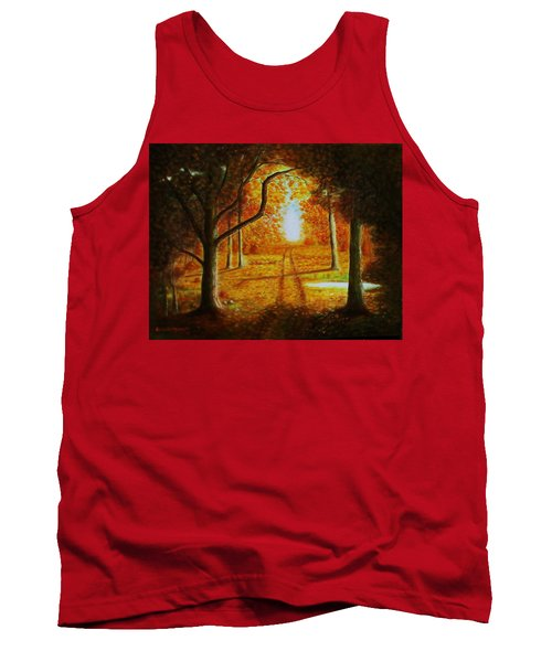 Tank Top featuring the painting Fall In The Woods by Gene Gregory
