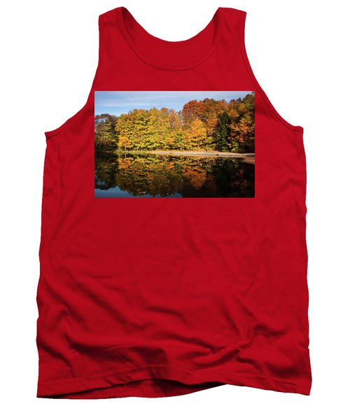 Fall Ontario Forest Reflecting In Pond  Tank Top