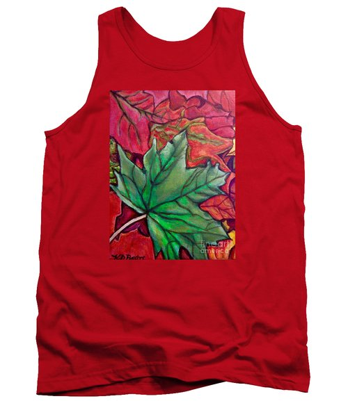 Fallen Green Maple Leaf In The Fall Tank Top by Kimberlee Baxter