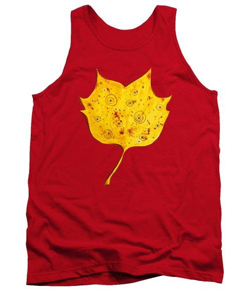 Fancy Yellow Autumn Leaf Tank Top