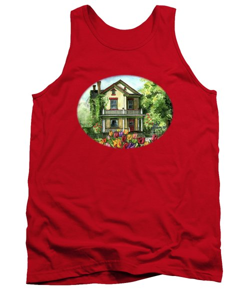 Farmhouse With Spring Tulips Tank Top