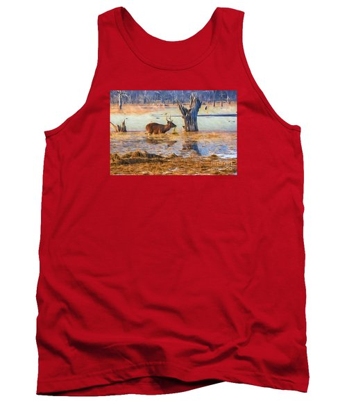 Feeding In The Lake Tank Top by Pravine Chester