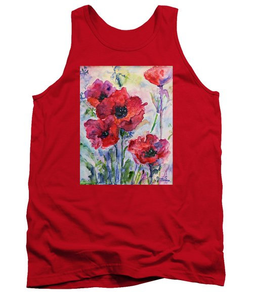 Field Of Red Poppies Watercolor Tank Top by AmaS Art