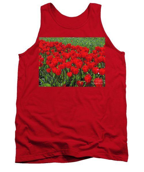 Field Of Red Tulips Tank Top