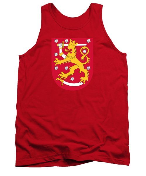 Tank Top featuring the drawing Finland Coat Of Arms by Movie Poster Prints