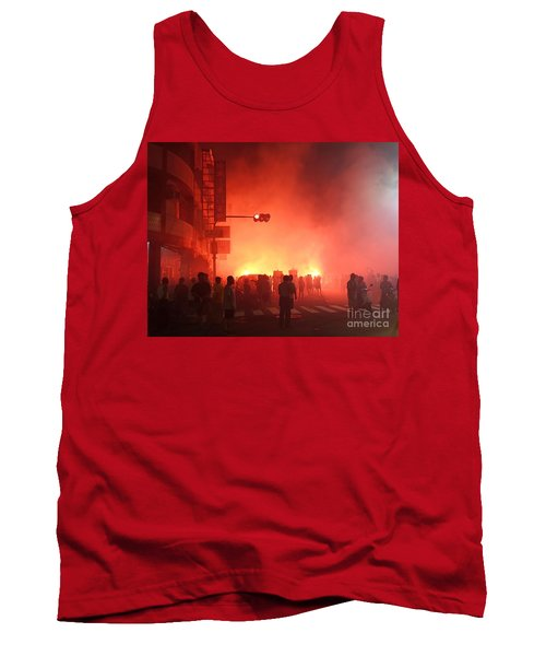 Tank Top featuring the photograph Fireworks During A Temple Procession by Yali Shi