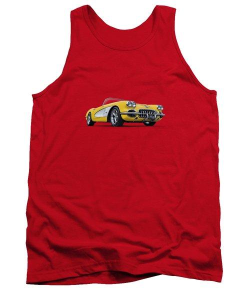 1960 Yellow And White Corvette Convertible Tank Top