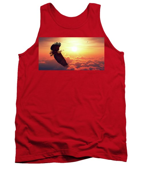 Fish Eagle Flying Above Clouds Tank Top